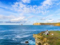 Entre azules (Jaime GF) Tags: coast cliff sea fisherman clouds costa mar acantilados nubes pescador landscape paisaje nikon d7000
