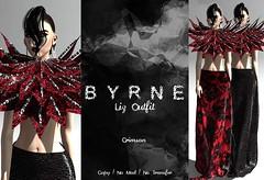 (BYRNE) LizOutfitAD-Crimson (ByrneDarkly-www.tartiste.wordpress.com) Tags: byrne swank mesh fashion womens skirt maxi collar lace