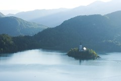 Modro ogledalo (Karsten Fatur) Tags: landscape lake bled slovenija slovenia water nature fog mist mountains church island woods forest scenery reflection blue europe travel explore adventure