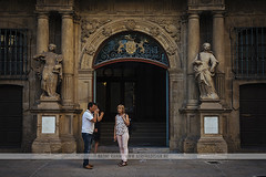 Pamplona Town Hall, Spain (Naomi Rahim (thanks for 2 million hits)) Tags: pamplona spain espaa europe europa 2016 travel travelphotography nikond7200 nikon summer architecture oldtown wanderlust navarre street streetphotography basque iruna irua door doorway