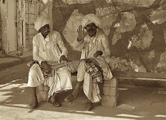 Worlds behind them (vittorio vida) Tags: india gujarat asia people portrait turban hat white street bye bench moustache