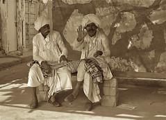 Worlds behind them (vittorio vida) Tags: india gujarat asia people portrait turban hat white street bye bench moustache