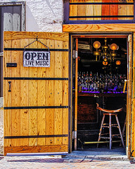 Open Live Music (Cheryl Atkins) Tags: door sunshine bar bottles maryland baltimore drinks stool fellspoint
