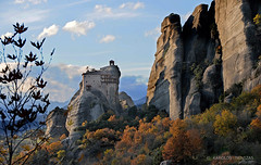SAINT NICOLAS  MONASTERY IN METEORA (GREECE, METEORA) (KAROLOS TRIVIZAS) Tags: church nature rock stone peak greece monastery summit monolith meteora trikala kalabaka thessaly digitalcameraclub geologicalphenomenon blinkagain bestofblinkwinners blinksuperstars