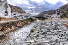 Slated pathway (Shertila Tony) Tags: street england sky water weather clouds river coast fishing europe cornwall day village cloudy britain overcast hdr boscastle lowpov