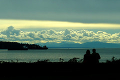 Dramatic Clouds @ English Bay () Tags: blue sunset people canada love silhouette vancouver couple day bc cloudy sony ships englishbay stanleypark dramaticclouds hx30v sonydschx30v