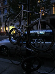 Stacked bikes (and announcements of sexuality) (Eddie C) Tags: london bicycle racing novelty nocturne pennyfarthing folding brompton smithfieldmarket
