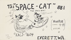 Cliffhanger #33: Space-Cat at the Space Base - Everett, Washington (73sand88s by Cardboard America) Tags: qslcard qsl cb cbradio vintage postcard space washington cat cliffhanger
