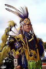 dancer 270 (queenbeaphoto@att.net) Tags: iicotpowwowofchampions bymelissafrybeasley dancer regalia people portrait person youngman iicotchildren ndn nativeamerican nativeyouth fancydancer feathers roach bustle blueyellow handsome lifestylephotography eventphotography
