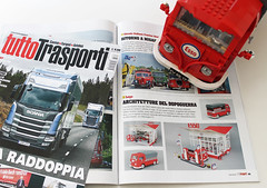 The ESSO GAS STATION featured in Tuttotrasporti magazine # 397  (September 2016) (Andrea Lattanzio) Tags: magazine lego trucks garage workshop esso gasstation petrol vintage classic volkswagen vw t1 norton74 van pickup
