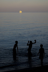 Evening Swim (mattrussellphoto.com) Tags: beach swim swimming boat yacht sailing sunset waves water lake fujixt1