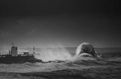 Await the giants (Tim Bow Photography) Tags: timbowphotography welsh british storm stormwaves porthcawllighthouse lighthouse seascape largewaves stormselfies light dark waves water swell porthcawl porthcawlstorm auguststorm2016 clouds stormy stormyseaswales august2016 summeratlanticstorm art creative creativelight spray timboss81 porthcawlwaves
