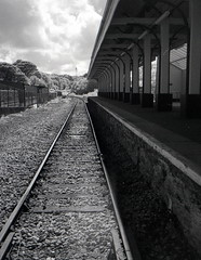 Last Stop [Pen EE] (Mr B's Photography) Tags: train tracks station blackandwhite falmouth docks cornwall film 35mm halfframe penee olympus