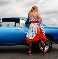 Ange L'Que_8780 (Fast an' Bulbous) Tags: high heels stilettos stockings dress girl woman car vehicle muscle automobile oldtimer classic american santa pod chick babe mature milf nikon d7100 gimp