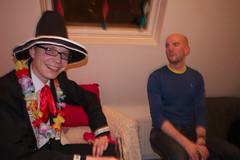 Sara and Kristen's party (Gary Kinsman) Tags: panasoniclumixgf3 lumixg14mmf25 london hernehill party houseparty addias jacket se24 fancydress 2012 flash pose posed grin smile