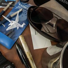 Tools of the Trade (treehuggerdcg) Tags: utata:project=ip240 utata ironphotographer origami dragons paper sunglasses pens businesscard toolsofthetrade yesimadehim