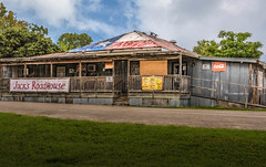 Jack's Roadhouse (Jims_photos) Tags: jacksroadhouse sanmarcostexas texas trees outdoor outside oldfence oldbarn adobelightroom adobephotoshop daytime fencefriday g happyfencefriday jimallen lightroom cloudy clouds nopeople nikond750 nikonlens28300 memories arctitectual