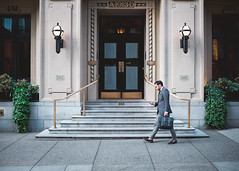 Stage in Colour (matt.hagge) Tags: fujifilm fuji x100t x100 vancouver vancity bc canada street photography urban city streets man walking suit building vsco lightroom guy person people bui buisness