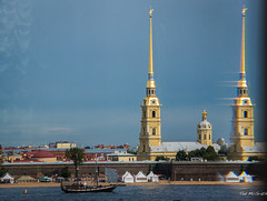 2016 - Baltic Cruise - St. Petersburg - Hermitage 11 (Ted's photos - For Me & You) Tags: 2016 cropped tedmcgrath tedsphotos vignetting ussr stpetersburg russia hermitage cathedralofsaintspeterandpaul spire reflection unesco unescoworldheritagesite