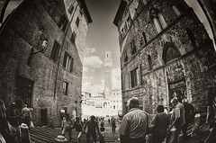 In Awe of Siena (Allard One) Tags: people italy sunlight distortion tower monochrome sepia clouds square spring nikon raw pov cityhall grunge capital perspective scenic may wideangle tourists retro unesco fisheye tuscany vista siena toscana awe 16mm vignetting toscane lente citysquare eclectic hdr italie palio harsh bold textured grungy 2012 worldheritage piazzadelcampo humaninterest mainsquare palazzopubblico towerofpower torredelmangia famousplace photomatix locallandmark nationallandmark internationallandmark touristdestination nikcolorefexpro hdrfromsingleraw d700 nikond700 88m mediterraneancountry nikonfx nikkor16mmf28fisheye toweroftheeater allardone niksilverefexpro allard1 duohardstrak ontzag fullframepower allardschagercom