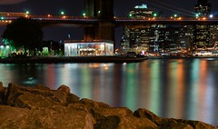 Carousel Under the Bridge (DPGold Photos) Tags: nyc longexposure ny newyork reflection building water skyline brooklyn river rocks downtown cityscape manhattan carousel brooklynbridge eastriver lighttrails portfolio dpgoldphotos