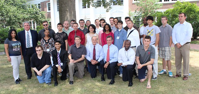Senator Tom Carper and Congressman John Carney (center) with students involved in the Delaware Cyber Security Camp.