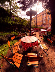 Storyville Cafe (hyeenus) Tags: table cafe helsinki chair chairs hdr marimekko storyville unikko tokinawide