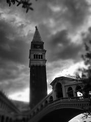old world charm (Michael Kenan) Tags: bridge las vegas tower clouds bell lasvegas belltower venetian
