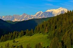 Mont Blanc, scenic 2 (HDR) (Jojo Septantesix (way behind)) Tags: blue sunset sky mountain snow ski alps green pine forest montagne alpes nikon exposure raw map bracket peak des use tamron mapping capped mont blanc vc col tone hdr aravis 70300 photomatix d5100