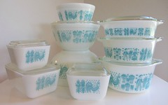 Butter Print Pyrex Collection (Foxy Belle) Tags: vintage print butter bowls lids pyrex fridgies