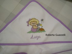 Toalha fralda c/capuz (Roberta guazzelli) Tags: infantil kits beb bordados lenol graficos almofadas toalhas babador fraldas