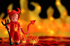 Little Sizzle and His Flickers (raining rita) Tags: red orange hot yellow fire bokeh ooak flames hell devil flickers coals redhots
