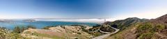 Fog over the bay - panorama (morozgrafix) Tags: sanfrancisco panorama fog highway hills 101 goldengatebridge freeway sanfranciscobay angelisland marinheadlands tiburon scatrail nikon2470mmf28g nikond7000