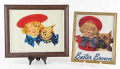 5. Two Framed Vintage Buster Brown Advertisements