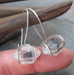 Herkimer Diamond and Sterling Hooks (AshleighAnnette) Tags: silver wire hammered unique ooak small faceted sterling earrings rough setting quartz dangle hooks herkimerdiamond