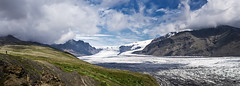 Panorama Skaftafellsjkull / Skaftafell National Park, Iceland (daitoZen) Tags: park travel summer sky panorama cloud mountain holiday man ice nature tongue landscape person iceland scenery glacier national 2012 skaftafell vatnajkull skaftafellsjkull onsalegi k5imgp2956