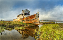 Point Reyes - Abandoned Boat (Davor Desancic) Tags: california old sea usa abandoned bay boat ship fisheye pacificocean shipwreck marincounty pointreyes 8mm vivitar hdr inverness tomalesbay pointreyesnationalseashore vivitarfisheye