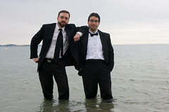 BlackTieBeach 139 (ittoku.lee) Tags: black castle beach water boston sand warmth tie suit tuxedo sos splash society tux revere spontaneity societies bostonsos