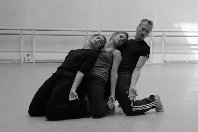 "Christopher Akrill, Charlotte Broom and Clemmie Sveaas rehearsing works from Three & Four Quarters.  Photo by Chris Shipman  <a href=""http://www.roh.org.uk"" rel=""nofollow"">www.roh.org.uk</a>"