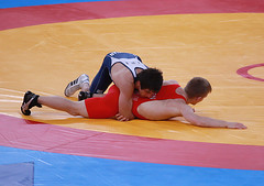 Hamid Mohammad Soryan Reihanpour (Iran) and Haakan Erik Nyblom (Denmark) (Michael N Hayes) Tags: london roman wrestling 2012 olympicgames greco london2012 londonolympics olympicwrestling grecoromanwrestling hamidmohammadsoryanreihanpour haakaneriknyblom
