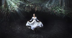 Escaping at Midnight (Rob Woodcox) Tags: trees white girl beauty night forest woods escape dress surreal eerie story whitney midnight moonlight dreamy ferns whitedress justesen robwoodcox robwoodcoxphotography