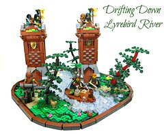 Drifting Down Lyrebird River ('Sergeant Chipmunk') Tags: trees tower castle water river landscape lego medieval raft diorama moc lenfald