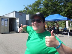 Lindsay giving the big thumbs up on the weather today at camp.