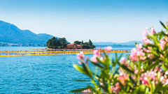 Pink Bokeh (Nicola Pezzoli) Tags: pink blue people italy mountain lake art tourism nature water colors yellow canon reflections island design bokeh piers floating monte bergamo brescia lombardia isola iseo sulzano