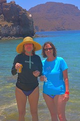 Friends for Life (Kirt Edblom) Tags: loreto mexico loretomexico seaofcortez 2016 bajacalifornia bajacaliforniasur bcs june2016 islandsofloreto loriford lori gaylene wife swimsuit swim swimming lunch isladanzante danzante danzantetours scenic sea serene water waterscape landscape gulfofcalifornia easyhdr hdr nikon nikond7100 nikkor18140mmf3556 baja beach blue bluesky outdoor outdoors vacation boat zodiac shoreline pacifico beer cerveza milf sand shore