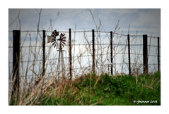 Behind the Fence (rjmonner) Tags: windmill windmillwednesday fencefriday iowa rural country farm rusty agricultural focus midwest steelstakes woodposts windpower windpump blades