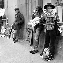 "Five Years Ago: ""Occupy Chicago"" (Andre's Street Photography) Tags: 99 1 99percent chicago occupychicago protest demonstrators lasalle lasallejackson downtown loop urban people city financialdistrict boardoftrade cme mercantileexchange street straat straatfotografie streetphotography blackandwhite bwphotography zwartwitfotografie noiretblanc blancoynegro chicagohistory woman hat sign placard economic democracy"