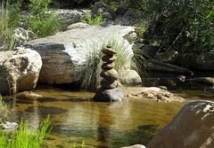 Cairn in the water near the dam, Sabino Canyon, Tucson, Sept 2016 (Judith B. Gandy) Tags: sabino arizona cairns rivers rocks streams tucson water sabinocanyon