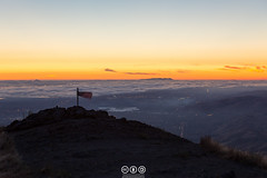 Mission Peak Twilight (au_ears) Tags: july4th california bayarea flag ohlonewilderness 2016 missionpeak twilight sky independenceday clouds summit american missionpeekersummitpole mountain
