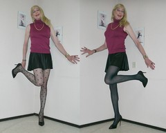 Dots and stripes. (sabine57) Tags: crossdressing transvestism crossdress crossdresser cd tgirl tranny transgender transvestite tv travestie drag pumps highheels tights pantyhose patternedtights patternedpantyhose skirt miniskirt shortskirt sweater jumper